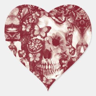 Cráneo gótico del cordón del Victorian rojo Pegatina Corazón Personalizadas