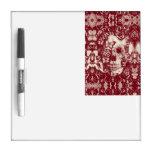 Cráneo gótico del cordón del Victorian rojo Tableros Blancos