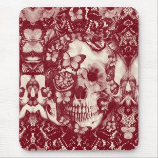 Cráneo gótico del cordón del Victorian rojo Tapete De Raton