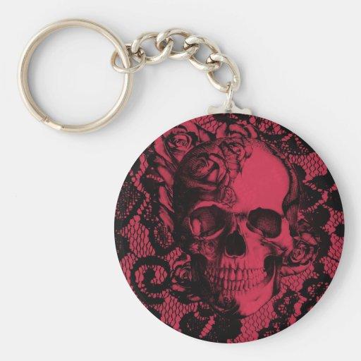 Cráneo gótico del cordón en de color rojo oscuro. llaveros personalizados