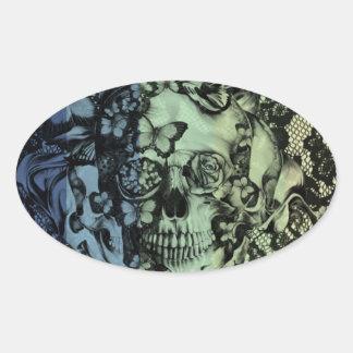 Cráneo gótico del cordón en marina de guerra, colcomanias de óval personalizadas