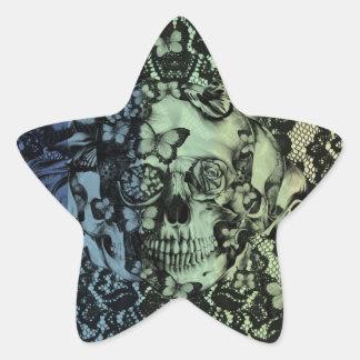 Cráneo gótico del cordón en marina de guerra, calcomanía forma de estrellae