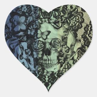 Cráneo gótico del cordón en marina de guerra, colcomanias corazon