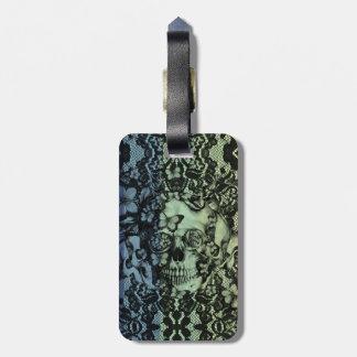 Cráneo gótico del cordón en marina de guerra verd etiquetas de equipaje