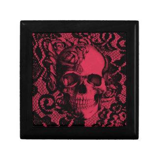 Cráneo gótico del cordón en rojo y negro caja de joyas