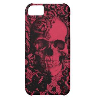 Cráneo gótico del cordón en rojo y negro funda para iPhone 5C