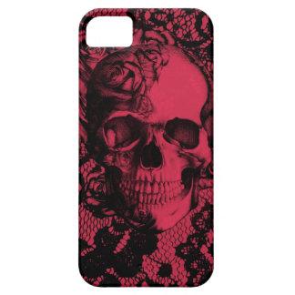 Cráneo gótico del cordón en rojo y negro iPhone 5 funda