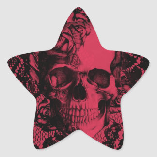 Cráneo gótico del cordón en rojo y negro pegatina en forma de estrella