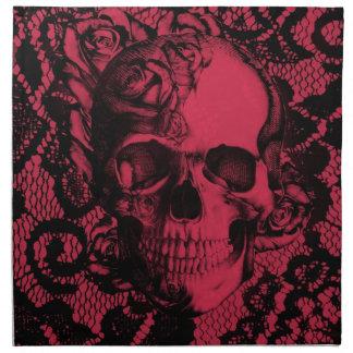 Cráneo gótico del cordón en rojo y negro servilleta de papel