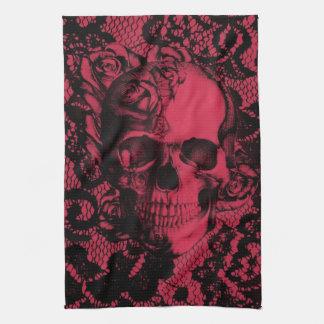 Cráneo gótico del cordón en rojo y negro toalla de mano