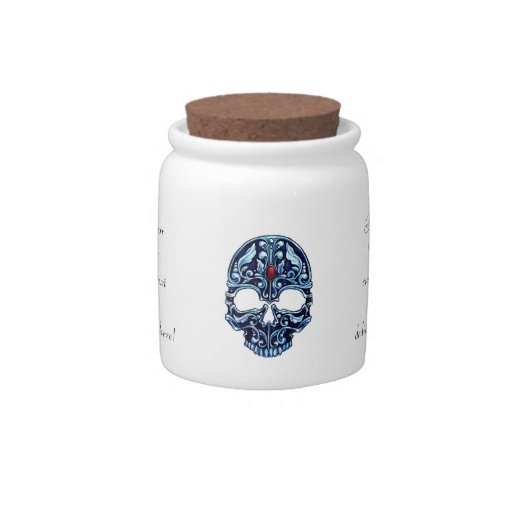 Cráneo gótico del dibujo animado del tatuaje del m jarra para caramelo