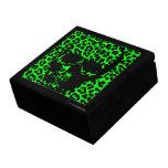 Cráneo gótico del estampado leopardo de la verde l caja de regalo
