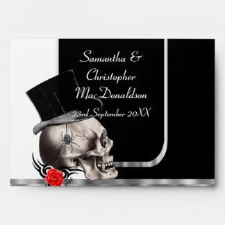 Cráneo gótico del novio del boda sobre