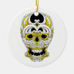 Cráneo gótico del ornamento del dibujo animado del adorno navideño redondo de cerámica