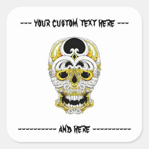 Cráneo gótico del ornamento del dibujo animado del pegatina cuadrada