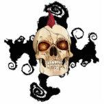 Cráneo gótico del punk rock con el Mohawk rojo Esculturas Fotograficas