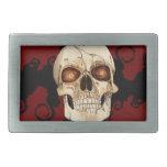 Cráneo gótico del punk rock con el Mohawk rojo Hebilla De Cinturón Rectangular