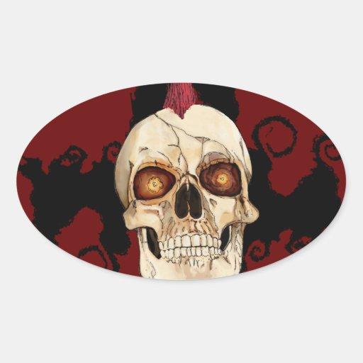 Cráneo gótico del punk rock con el Mohawk rojo Pegatina Ovalada