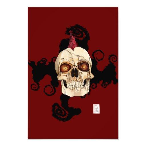 Cráneo gótico del punk rock con el Mohawk rojo Fotografia