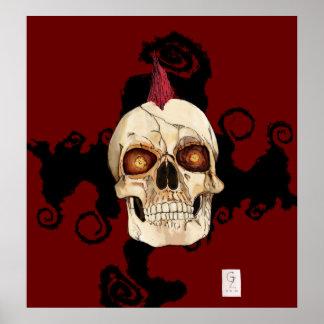 Cráneo gótico del punk rock con el Mohawk rojo Póster
