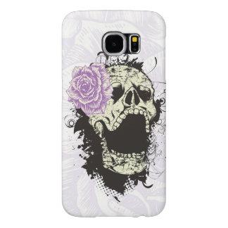 Cráneo gótico fresco y color de rosa púrpura funda samsung galaxy s6