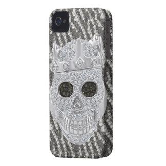 Cráneo gótico impreso con el ornamento de los diam iPhone 4 Case-Mate fundas