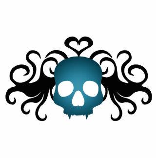 Cráneo gótico lindo del vampiro en azul imán fotoescultura