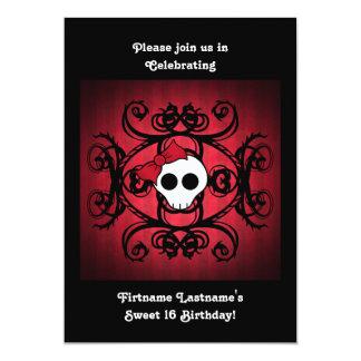 """Cráneo gótico lindo en 5x7 el dulce rojo y negro invitación 5"""" x 7"""""""