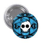 Cráneo gótico lindo en azul y negro pins