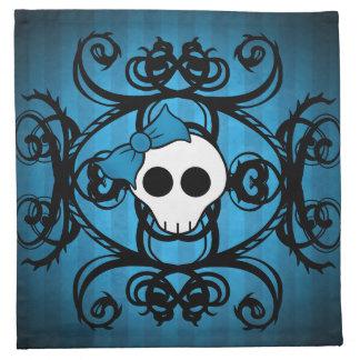 Cráneo gótico lindo en azul y negro servilletas imprimidas
