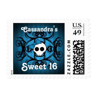 Cráneo gótico lindo en el dulce azul y negro 16 envio