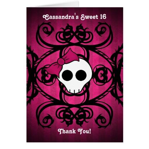 Cráneo gótico lindo en el fuschia y el dulce negro tarjeta pequeña