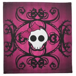 Cráneo gótico lindo en fuschia y negro servilleta de papel