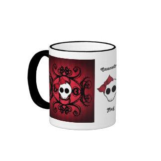 Cráneo gótico lindo en rojo y negro tazas