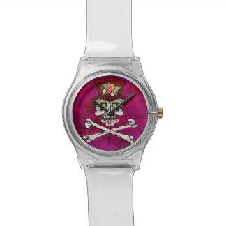 Cráneo gótico observado cocodrilo y bandera pirata relojes de mano