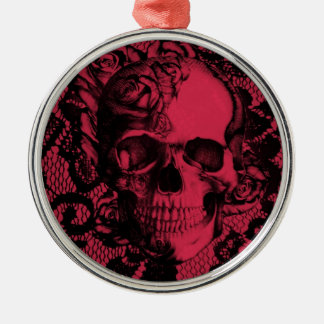Cráneo gótico rojo y negro del cordón adorno para reyes