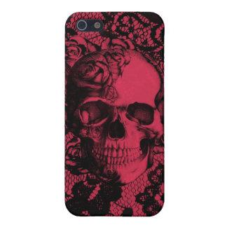Cráneo gótico rojo y negro del cordón iPhone 5 funda