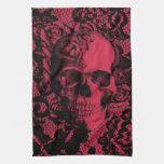 Cráneo gótico rojo y negro del cordón toallas de mano