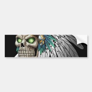 Cráneo gótico tribal indio del nativo americano etiqueta de parachoque