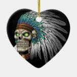 Cráneo gótico tribal indio del nativo americano adornos de navidad