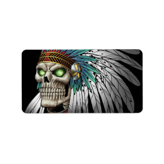 Cráneo gótico tribal indio del nativo americano etiquetas de dirección