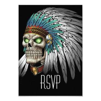 """Cráneo gótico tribal indio del nativo americano invitación 3.5"""" x 5"""""""