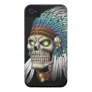 Cráneo gótico tribal indio del nativo americano iPhone 4 Case-Mate protector