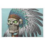 Cráneo gótico tribal indio del nativo americano mantel