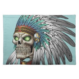 Cráneo gótico tribal indio del nativo americano manteles