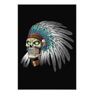 Cráneo gótico tribal indio del nativo americano cojinete