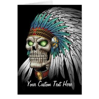 Cráneo gótico tribal indio del nativo americano tarjeta pequeña