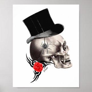 Cráneo gótico y estilo color de rosa del tatuaje impresiones