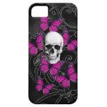 Cráneo gótico y mariposas púrpuras iPhone 5 funda