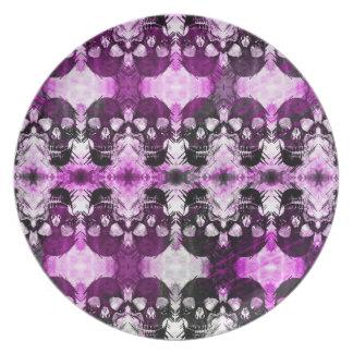 Cráneo gráfico púrpura de moda plato de comida